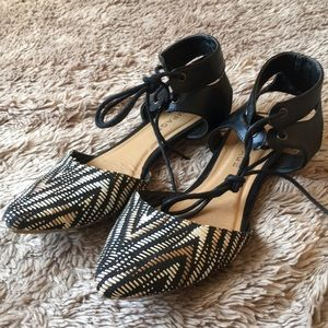 Statement woven lace up flats